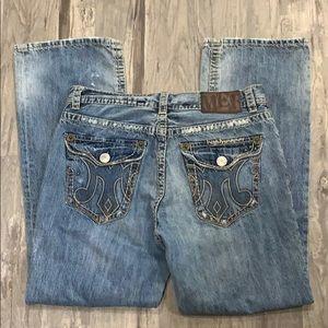MEK tangier jeans boot cut light wash destructed